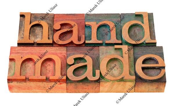 handmade word in letterpress type