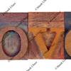 love in vintage type blocks