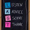 listen, advice, solve, thank
