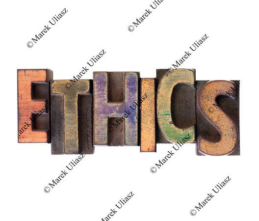 ethics word in vintage wooden letterpress type