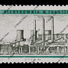 coal power plant on vintage post stamp from Poland