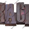 race word in letterpress type