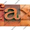 fax word in letterpress type