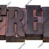 free word in letterpress type