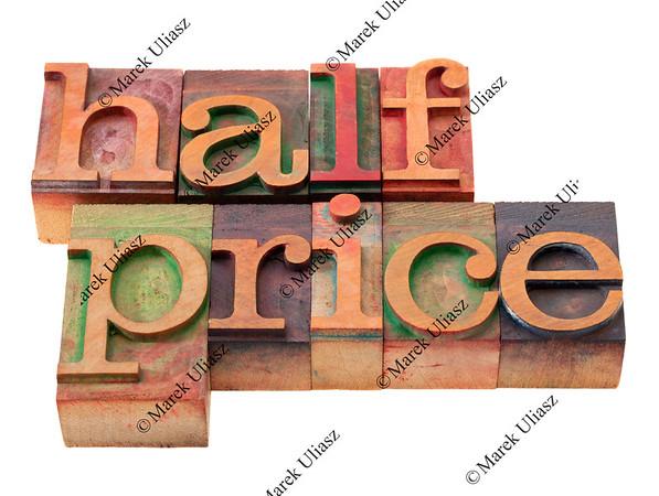 half price - words in letterpress type