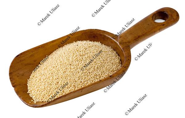 rustic scoop of amaranth grain