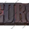 euro word in letterpress type