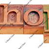 shop word in letterpress type