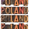Poland in vintage wooden type