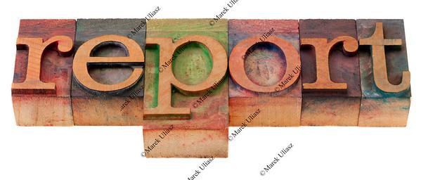 report word in letterpress type