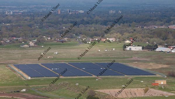 solar energy farm aerial view