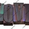 love word in letterpress type
