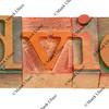 advice - word in letterpress type