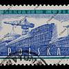 shipyard on vintage post stamp from Poland