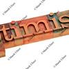optimism  word in letterpress type