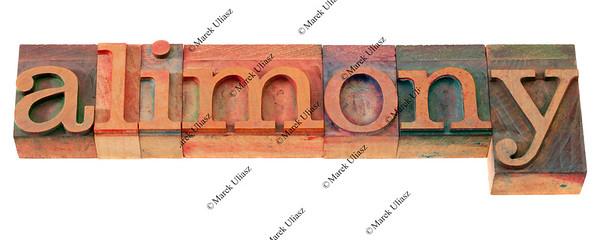 alimony word in letterpress type