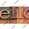 hello word in letterpress type