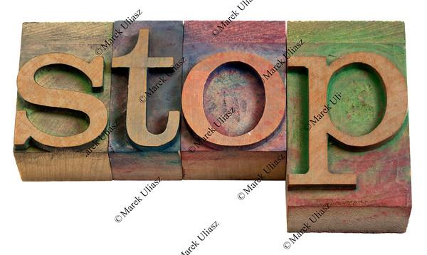 stop - vintage printing blocks