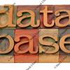 database word in letterpress type