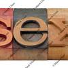 sex - word in letterpress type