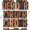 order word in vintage wood type