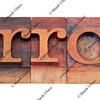 error word in letterpress type