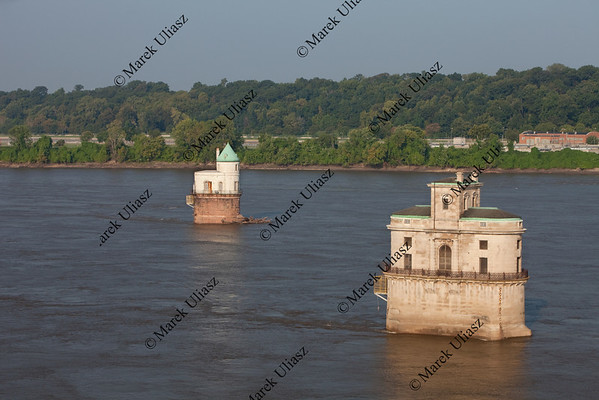 Mississippi River and water towers