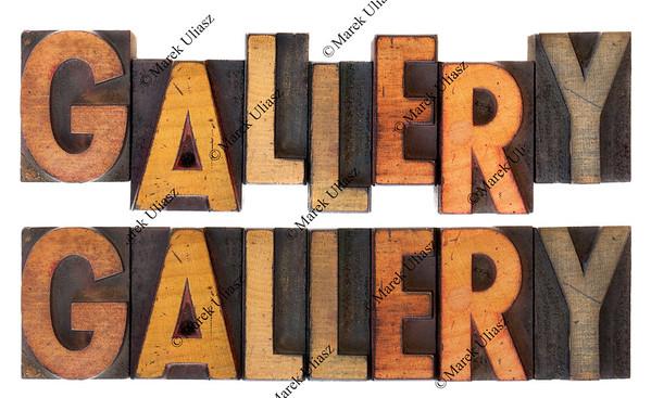 gallery in vintage letterpress type