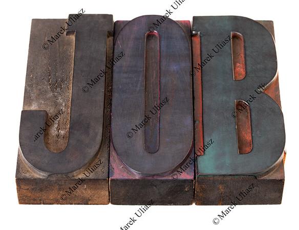 job - word in letterpress type