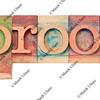 proof word in letterpress type