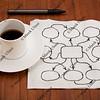 abstract blank flowchart on napkin
