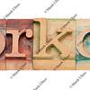 workout word in letterpress type