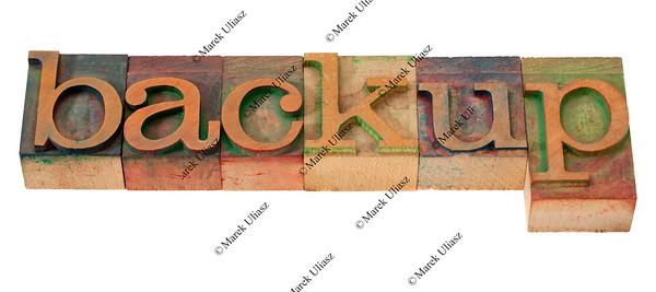 backup - word in letterpress type