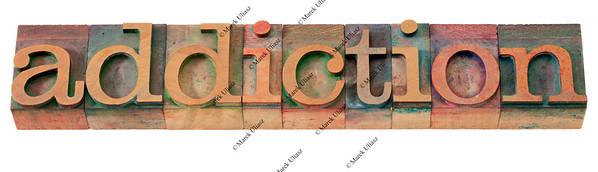 addiction word  in letterpress type