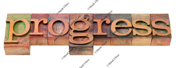 progress - word in old letterpress type