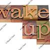 wake up - phrase in vintage letterpress type