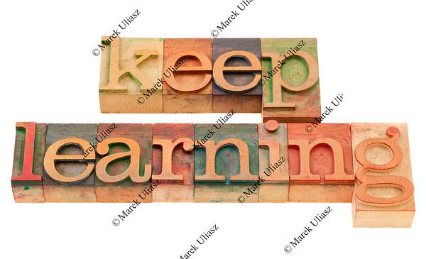 keep learning in letterpress type