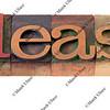 please - word in old letterpress type