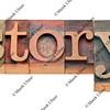story word in letterpress type