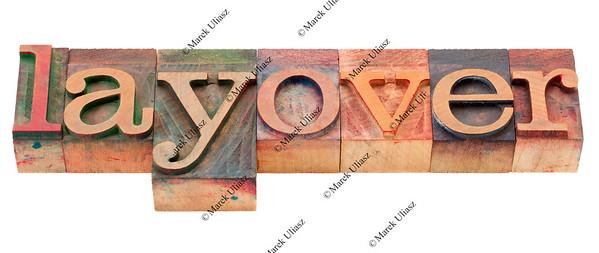 layover word in letterpress type