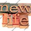 new life words in letterpress type