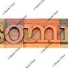 insomnia word in letterpress type