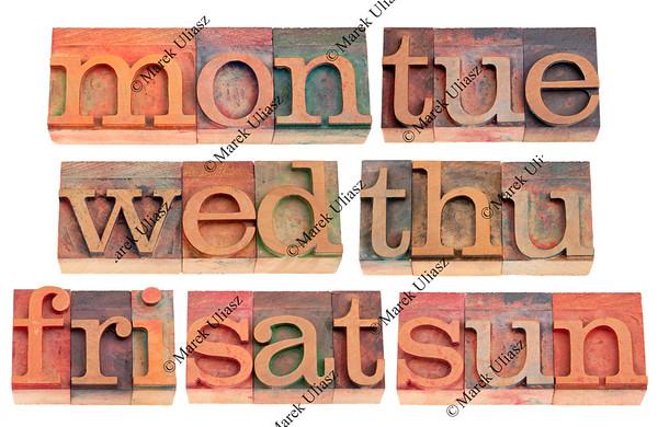 days of week in letterpress type