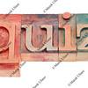 quiz word in wood letterpress type