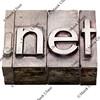 dot net - internet domain in letterpress type