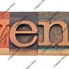 events word in letterpress type