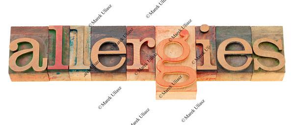 allergies  word in letterpress type