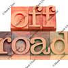 off road words  in letterpress type