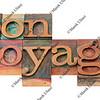 bon voyage - phrase in letterpress type