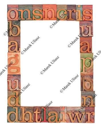 alphabet frame in letterpress type